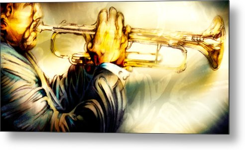 Jazz Art Metal Print featuring the pastel Comfort Zone by Mike Massengale