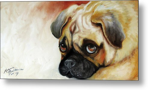 Pug Metal Print featuring the painting Cutie Pie Pug by Marcia Baldwin