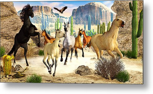 Horses Metal Print featuring the photograph Desert Horses by Peter J Sucy