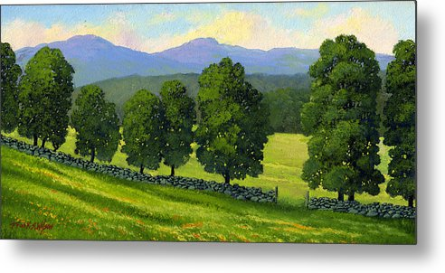 Landscape Metal Print featuring the painting Distant Mountains by Frank Wilson