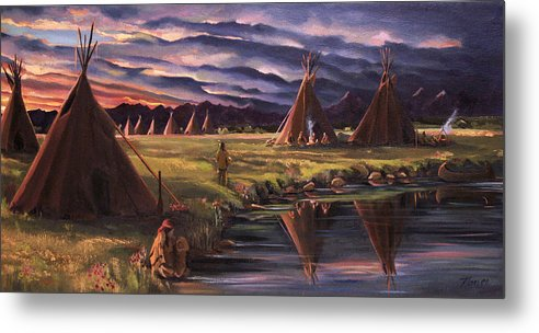 Native American Metal Print featuring the painting Encampment At Dusk by Nancy Griswold