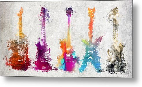 Guitar Metal Print featuring the digital art Five Colored Guitars by Justyna JBJart