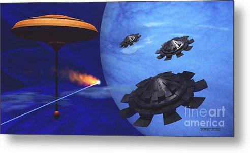 Meteor Metal Print featuring the painting Floating Space City by Corey Ford