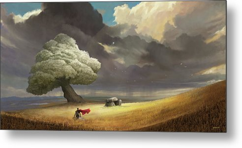 Tree Metal Print featuring the digital art Fought The Good Fight by Steve Goad