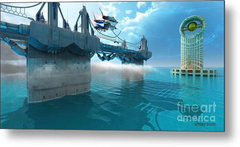 Space Art Metal Print featuring the painting Futuristic Skyway by Corey Ford
