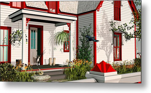 Victorian House Metal Print featuring the painting Gothic Cat House by Peter J Sucy