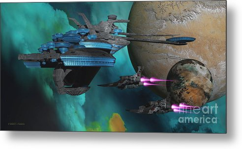 Space Art Metal Print featuring the painting Green Nebular Expanse by Corey Ford