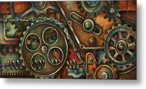 Mechanical Painting Metal Print featuring the painting Harmony by Michael Lang