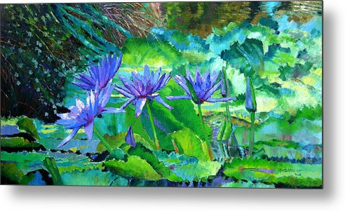Purple Water Lilies Metal Print featuring the painting Harmony Of Purple And Green by John Lautermilch