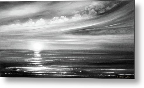 Sunset Metal Print featuring the painting Here It Goes In Black And White by Gina De Gorna