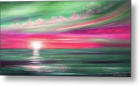 Brown Metal Print featuring the painting Here It Goes In Teal And Magenta Panoramic Sunset by Gina De Gorna