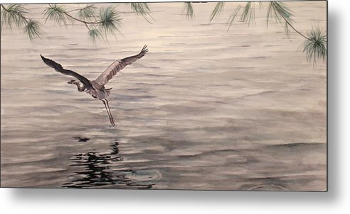 Heron Metal Print featuring the painting Heron In Flight by Debbie Homewood