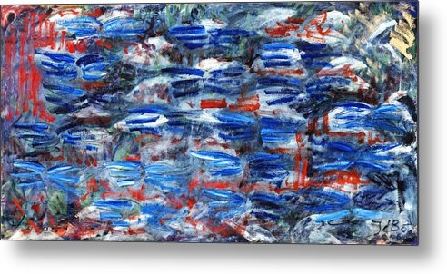 Abstract Blue Red White Speed Rectangular Metal Print featuring the painting Inside Out by Joan De Bot