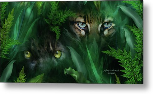 Big Cat Art Metal Print featuring the mixed media Jungle Eyes - Panther And Ocelot by Carol Cavalaris