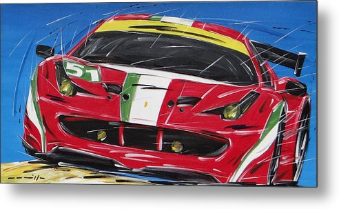 Cars Metal Print featuring the painting Le Mans Ferrari 458 by Roberto Muccilo