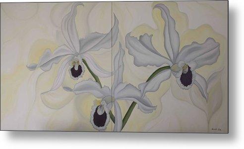Marinella Owens Metal Print featuring the painting Lealia Purpurata  Orchide by Marinella Owens