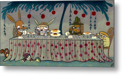 Alice In The Wonderland Metal Print featuring the painting Mad Tea Party by Kaori Hamura Long