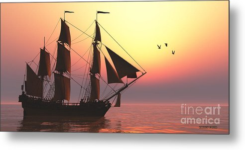 Sailing Metal Print featuring the painting Medusa Sailing Ship by Corey Ford