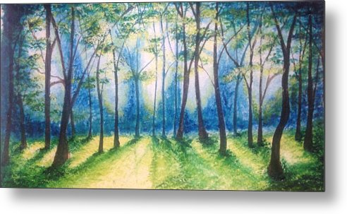 Forest Metal Print featuring the painting Morning Light by Kathrine Skeen