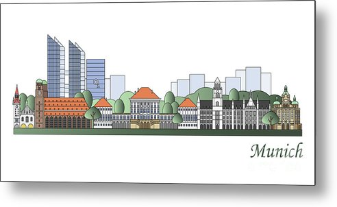 Munich Metal Print featuring the painting Munich Skyline Colored by Pablo Romero