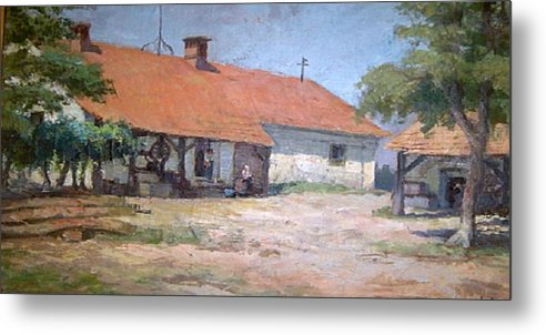 Old World Farmhouse Metal Print featuring the mixed media Old World Slovenian Farmhouse by Sherri's - Of Palm Springs