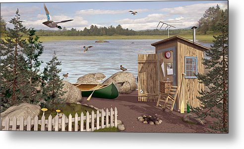 Outhouse Metal Print featuring the painting Out Thayuh by Peter J Sucy