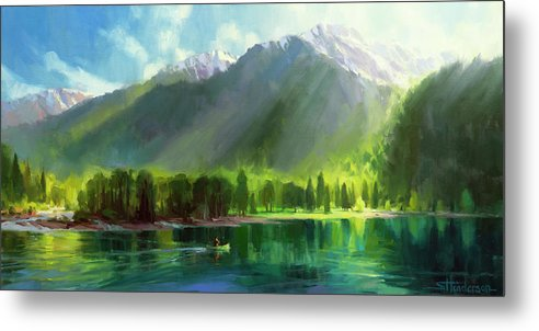 Mountains Metal Print featuring the painting Peace by Steve Henderson