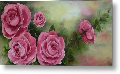 Oil Painting Metal Print featuring the painting Pink Roses by Joni McPherson
