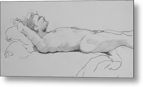 Life Metal Print featuring the drawing Reclining Nude 3 by Robert Bissett