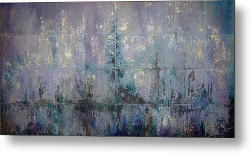 Abstract Metal Print featuring the painting Silver And Silent by Shadia Derbyshire