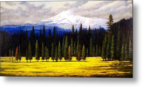 Landscape Metal Print featuring the painting Spring Meadow Mount Brokeoff by Frank Wilson