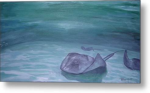 Stingrays Metal Print featuring the painting Stingrays At Cayman Island by Barbara Harper