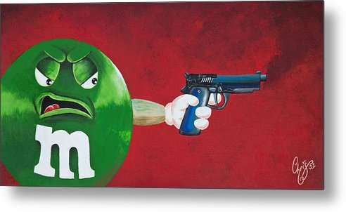 M & M Metal Print featuring the painting Taste The Rainbow Of Bullets Bitch Part 1 by Chris Fifty-one