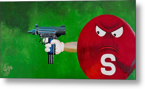 M & M Metal Print featuring the painting Taste The Rainbow Of Bullets Bitch Part 2 by Chris Fifty-one
