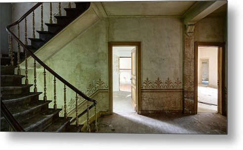 Castle Metal Print featuring the photograph The Haunted Staircase - Abandoned Building by Dirk Ercken