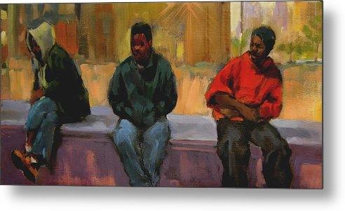 Figurative Metal Print featuring the painting Three Africans by Merle Keller