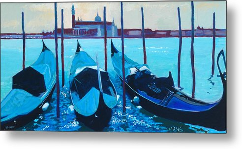 Venice Metal Print featuring the painting Three Gondolas by Robert Bissett