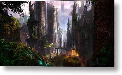 Concept Art Metal Print featuring the digital art Waterfall Celtic Ruins by Alex Ruiz