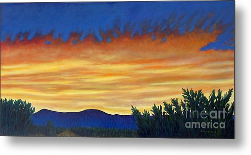 Sunset Metal Print featuring the painting Winter Sunset In El Dorado by Brian Commerford