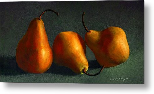 Still Life Metal Print featuring the painting Yellow Pears by Frank Wilson
