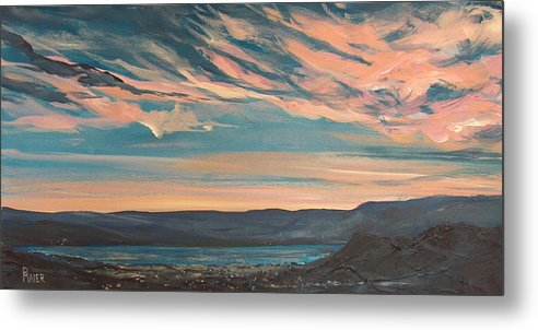 Sunset Metal Print featuring the painting Over The River by Pete Maier