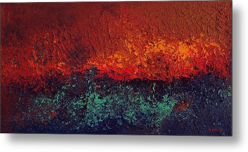 Abstract Metal Print featuring the painting Firestorm by Michael Lewis