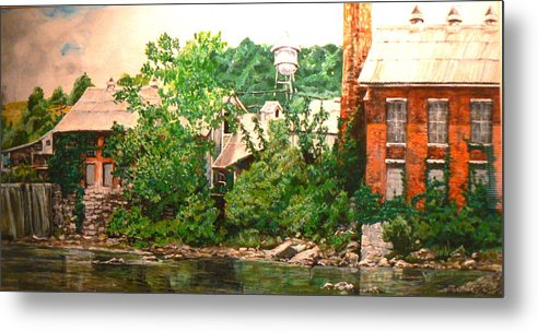 Landscape Metal Print featuring the painting Paper Mill by Thomas Akers