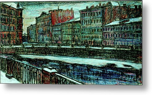 St. Petersburg Metal Print featuring the drawing Griboyedov Canal by Anatoliy Sivkov