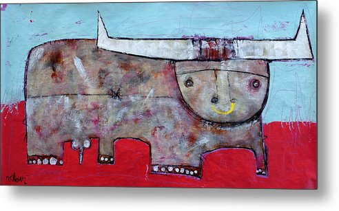 Abstract Paintings Metal Print featuring the painting Animalia Taurus 1 by Mark M Mellon
