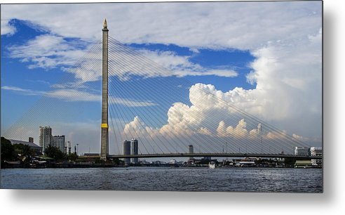Landscape Metal Print featuring the photograph Bangkok - Rama Viii Bridge by Luca Sartor