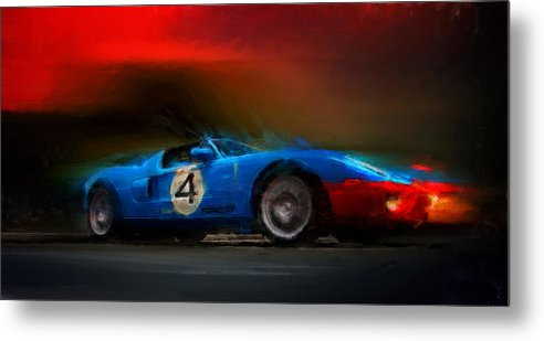 Ford Gt Metal Print featuring the digital art Blue Thunder by Alan Greene