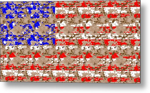 Camo Us Flag Metal Print by Ron Hedges 63743f83618