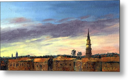 Sunset Metal Print featuring the painting Charleston Rooftop Sunset by Rosie Phillips