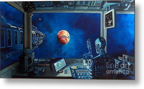 Fantasy Metal Print featuring the painting Crying Robot by Murphy Elliott